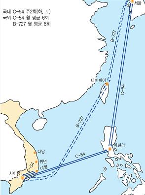 C-54 수송기의 한·남베트남 및 남베트남 국내운항도